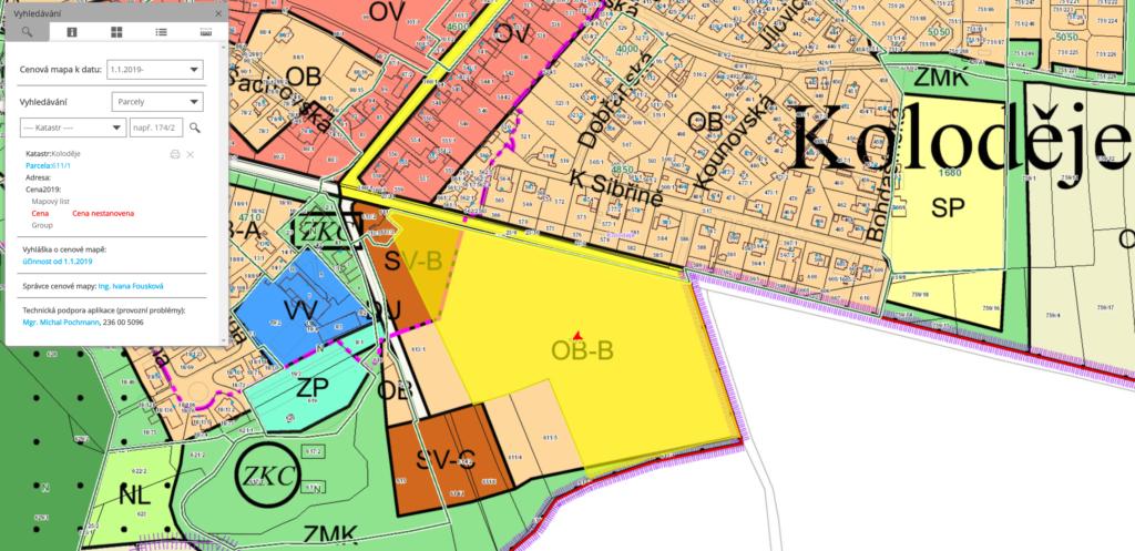 cenová mapa stavebních pozemků Koloděje